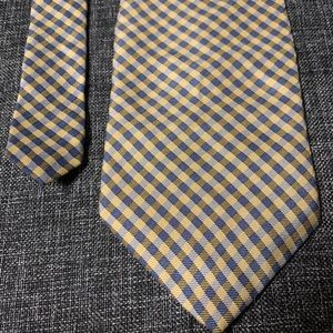 Nautica men's silk neck tie checkered yellow blue
